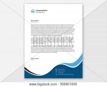 Blue Waves Letterhead Template Design || Letter Size 11x8.5 In With .125 Bleed