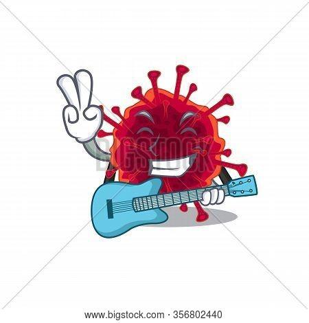 Supper Cool Pedacovirus Cartoon Playing A Guitar