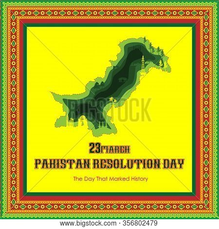 Pakistan Day Vector Template Design Illustration Happy Pakistan's Resolution Day 23Rd March 1940. Ve