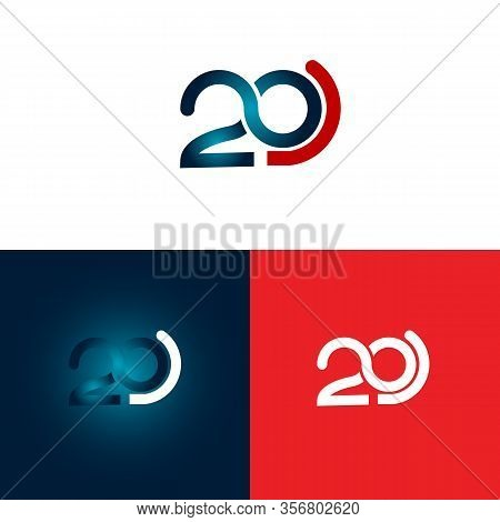 Typography Design Number 20 Th Anniversary Numbers. 20 Years Old Logotype. Up To 20%, -20% Percent O