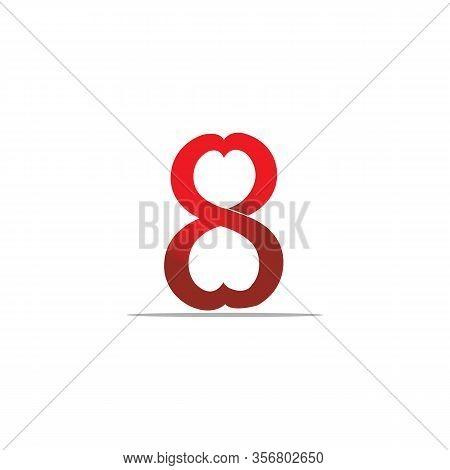 8 Number Shape Love Vector Concept Design. Creative Number 8. Vector Illustration Eps.8 Eps.10