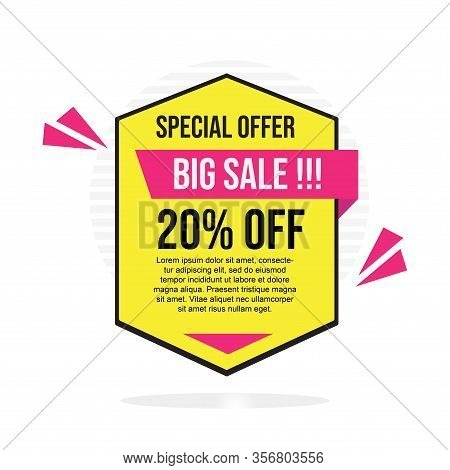 20% Sale Tag Vector Badge Template, 20% Sale Label Collection, Clearance Sale Sticker Emblem, Bargai