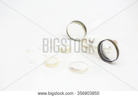 Optical Lenses As Spare Parts For Lenses, Microscopes And Other Optical Devices. Replacing Lenses Wi