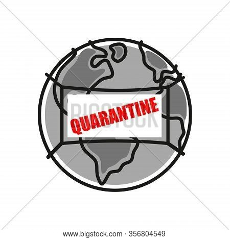 Quarantine On Planet Earth In A Medical Protective Antimicrobial Mask. Ncov-19 Coronavirus Pandemic