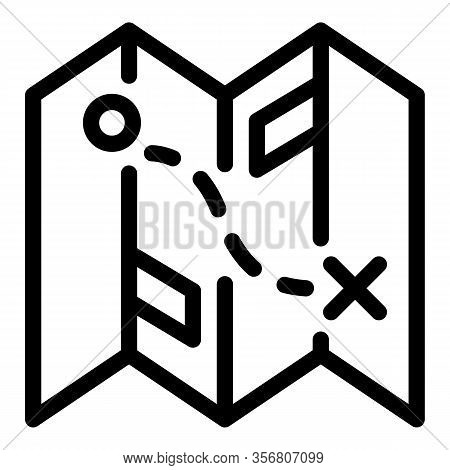 Exploration Travel Map Icon. Outline Exploration Travel Map Vector Icon For Web Design Isolated On W