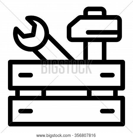 Repairman Tool Wood Box Icon. Outline Repairman Tool Wood Box Vector Icon For Web Design Isolated On