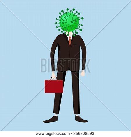 Virus Character, Human Body Head Virus. Character. Microbe, Pathogen, Coronavirus Flu Germ Virus Inf
