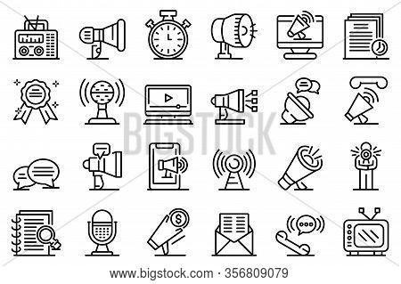 Announcer Icons Set. Outline Set Of Announcer Vector Icons For Web Design Isolated On White Backgrou