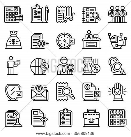 Tax Inspector Icons Set. Outline Set Of Tax Inspector Vector Icons For Web Design Isolated On White