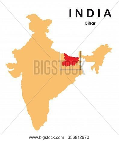Bihar In India Map. Bihar Map Vector Illustration