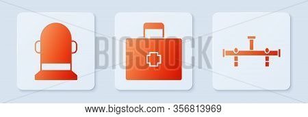 Set First Aid Kit, Buoy And Manifold. White Square Button. Vector