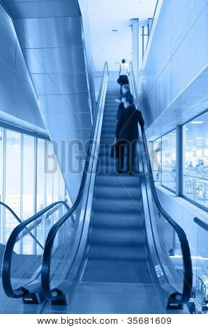 Escalators in business center