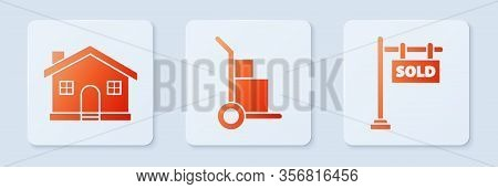 Set Hand Truck And Boxes, House And Hanging Sign With Text Sold. White Square Button. Vector