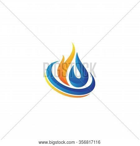 Creative Fire Flame Logo Design Vector Template Drop Silhouette. Creative Droplet Burn Elegant Bonfi