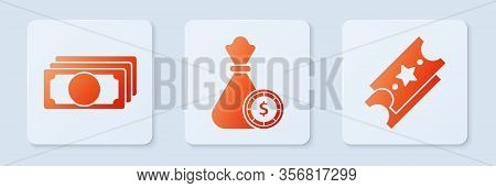 Set Money Bag And Casino Chips, Stacks Paper Money Cash And Lottery Ticket. White Square Button. Vec