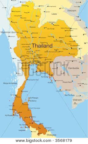 Abstract vector color map of Thailand country poster
