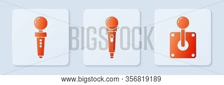 Set Microphone, Joystick For Arcade Machine And Joystick For Arcade Machine. White Square Button. Ve