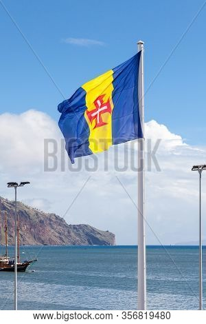 Funchal, Madeira, Portugal - November 3:  The Flag Of Madeira Is Pictured On The Funchal Waterfront