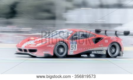 Le Mans / France - June 15-16 2019: 24 Hours Of Le Mans, Spirit Of Race Team, Ferrari 488 Gt3, Road