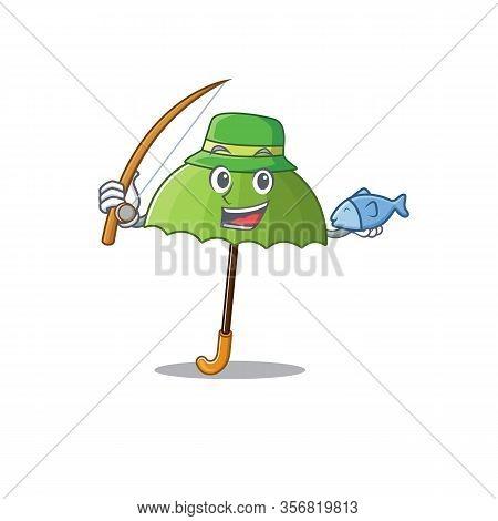 A Picture Of Funny Fishing Green Umbrella Design