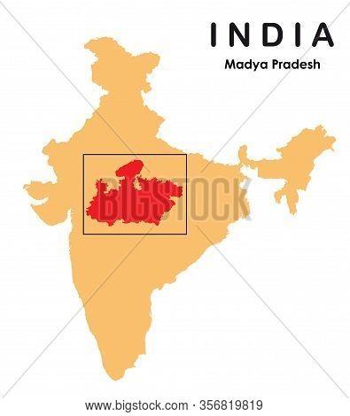 Madhya Pradesh In India Map. Madhya Pradesh Map Vector Illustration