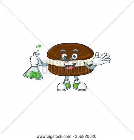 Whoopie Pies Brainy Professor Cartoon Design Grasp A Glass Tube