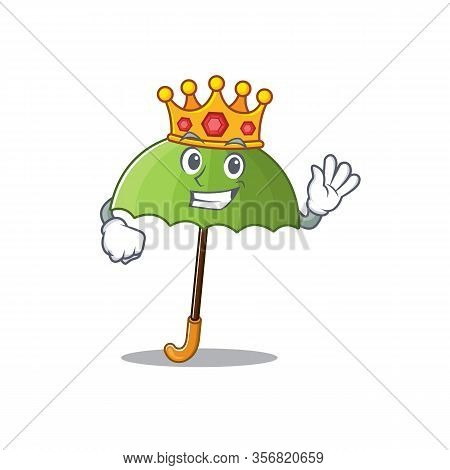 The Royal King Of Green Umbrella Cartoon Character Design With Crown