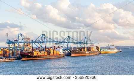 Las Palmas De Gran Canaria, Spain - November 4:  Msc And Maersk Container Ships Are Pictured Docked