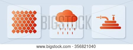 Set Cloud With Rain, Garden Fence Wooden And Garden Hose Or Fire Hose. White Square Button. Vector