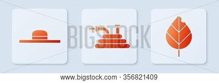 Set Garden Hose Or Fire Hose, Worker Hat And Leaf. White Square Button. Vector