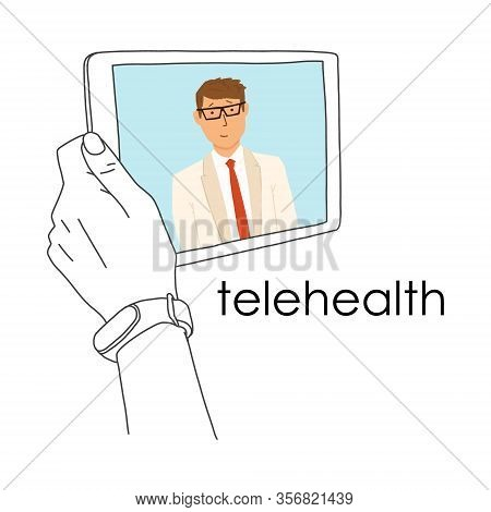 Remote Medicine Application Tablet, Telehealth. Use Computer And Telecommunication Technologies For