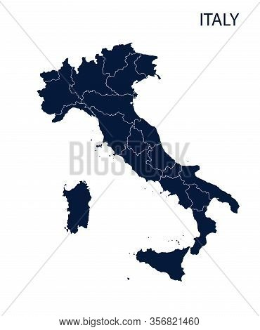 Grey Political Italy Map Vector, Isolated On White Background.