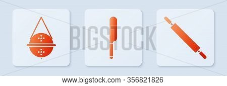 Set Knife, Ball Tea Strainer And Rolling Pin. White Square Button. Vector