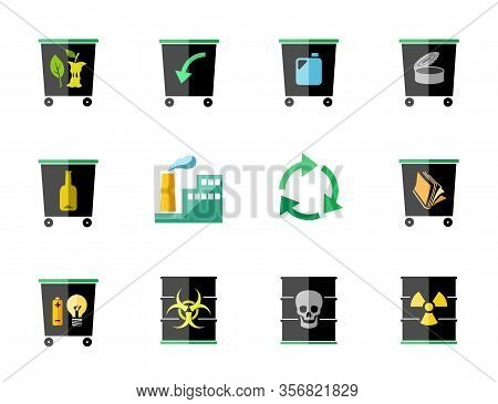 Waste Disposal, Flat Icons, Black, Color, Vector. Garbage Collection, Different Types Of Waste. Colo
