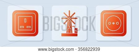 Set Wind Turbine, Electrical Outlet And Electrical Outlet. White Square Button. Vector