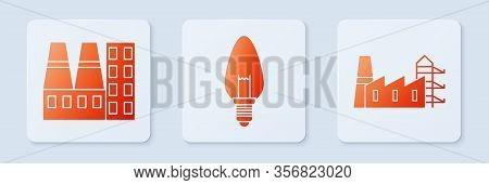 Set Light Bulb, Power Station Plant And Factory And Power Station Plant And Factory. White Square Bu
