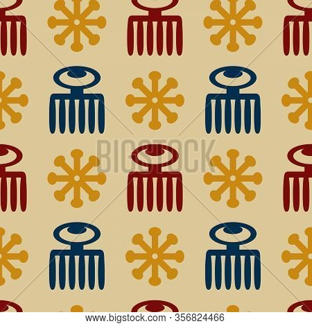 Vector Seamless Pattern With Symbols Ritual Screen Printing Of African Peoples And Tribes . Adinkra