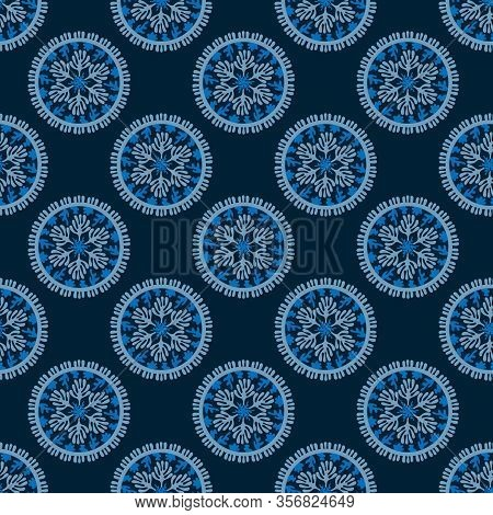 Seamless Pattern With Sea Mandala. Stylized Corals And Algae, Stars. Abstract Hand Drawn Illustratio