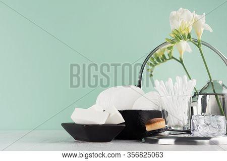 Fashion Black Cosmetics Accessories In Green Mint Menthe Bathroom Interior -  Mirror, Cotton Pads, B