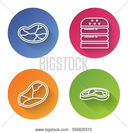 Set Line Steak Meat, Burger, Steak Meat And Steak Meat. Color Circle Button. Vector