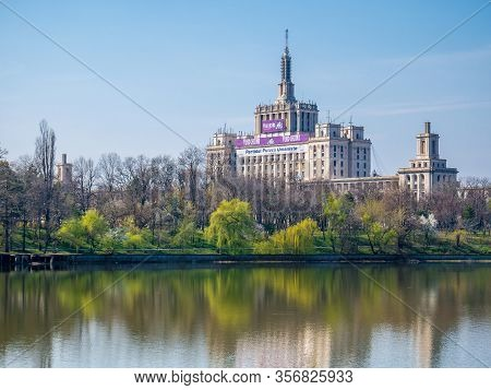 Bucharest/romania - 03.19.2020: The House Of The Free Press In Bucharest Seen From Herestrau Park Or