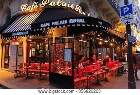Paris, France- March 12, 2020 : Located In The 1st Arrondissement, Cafe Palais Royal Rubs Shoulders