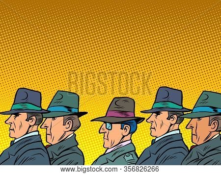 Crowd Of Businessmen Or A Delegation Of Officials. Comics Caricature Pop Art Retro Illustration Draw