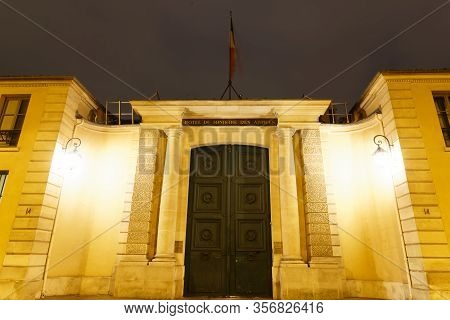 Paris, France-march 12, 2020 : The Headquarters Of The Ministry Of The Armies Is Located At The Hote