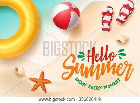 Hello Summer Vector Banner. Hello Summer Text In Beach Seaside Background Design With Beach Elements