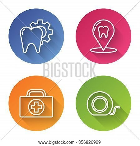 Set Line Tooth Treatment Procedure, Dental Clinic Location, First Aid Kit And Dental Floss. Color Ci