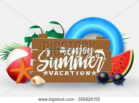 Summer Vector Banner Design. Summer Vacation Typography In Wood Space For Text With Beach Elements L