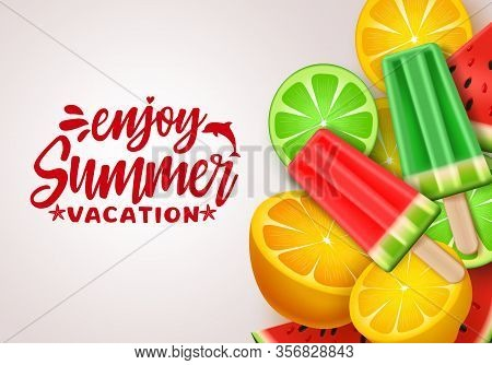 Summer Vector Banner Design. Summer Vacation Text With Tropical Fruits Like Watermelon, Lemon And Po