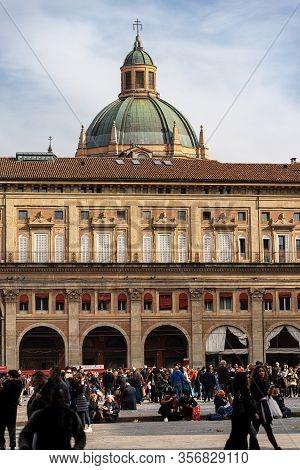 Bologna, Emilia-romagna, Italy - Feb 23, 2020: Piazza Maggiore With The Palazzo Dei Banchi (1568) An