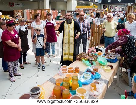 Voronezh, Russia - August 14, 2019: Priest At The Celebration Of Honey Savior, Central Voronezh Mark